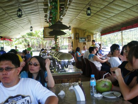Scene inside the floating restaurant