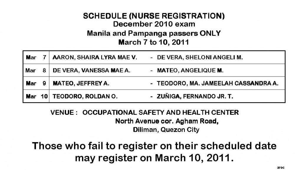 Manila and Pampanga exam passers only
