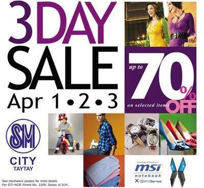 sm taytay 3 day sale july 2011