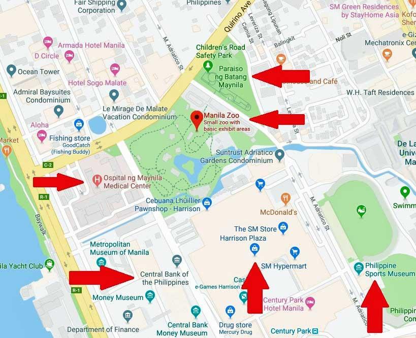 manila zoo map landmarks