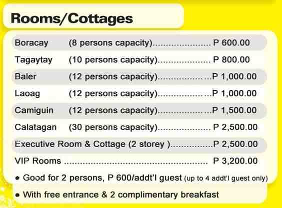 Amana Waterpark Cottage Rates