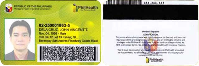 pvc type philhealth id card sample