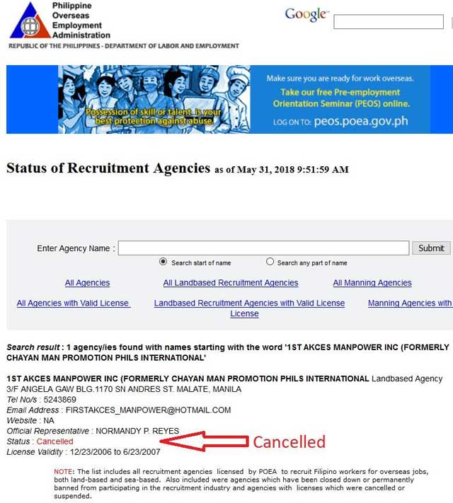 list of poea agencies with cancelled permit