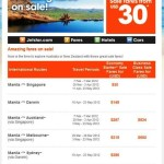 Jetstar Airfare sale, Manila to Singapore, Australia, USD30 Promo
