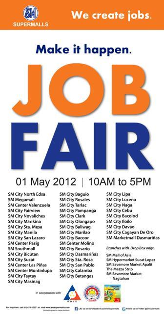 Sm Supermalls Job Fair Schedule For 2012