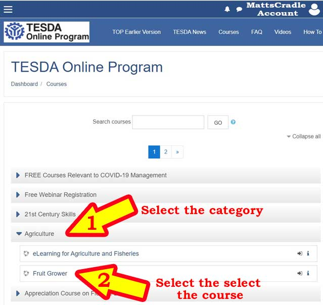 example of courses in tesda