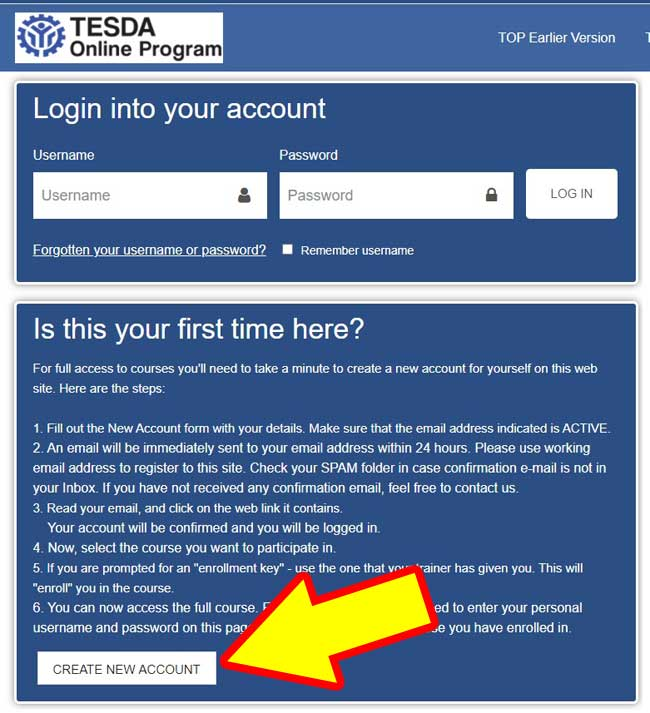 how to register in tesda online step 1