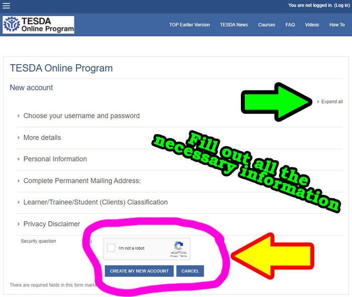 how to register in tesda online step 2