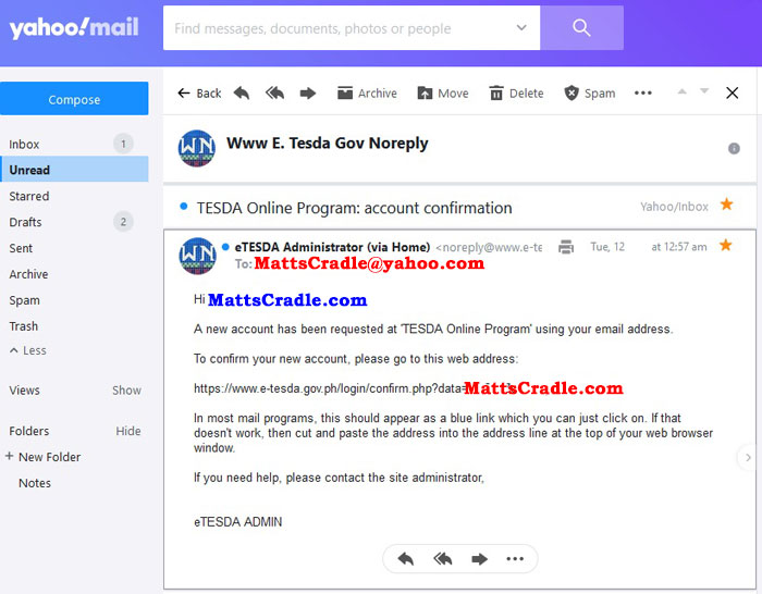 tesda email confirmation step 3