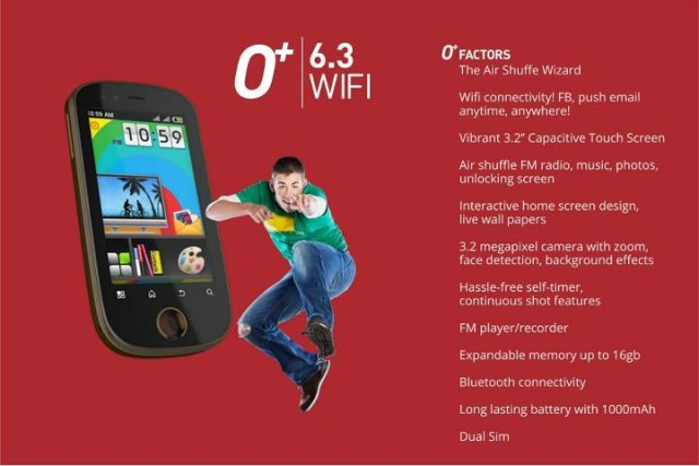 o+ air shuffle android phone specs