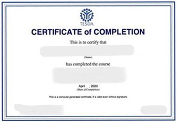 tesda certificate