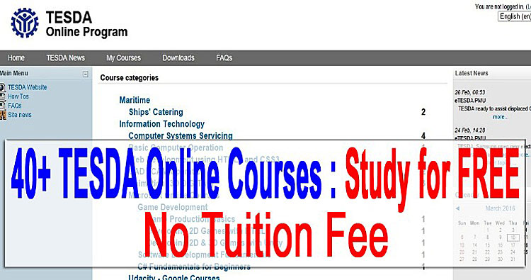 tesda online courses free no tuition fee march 2016
