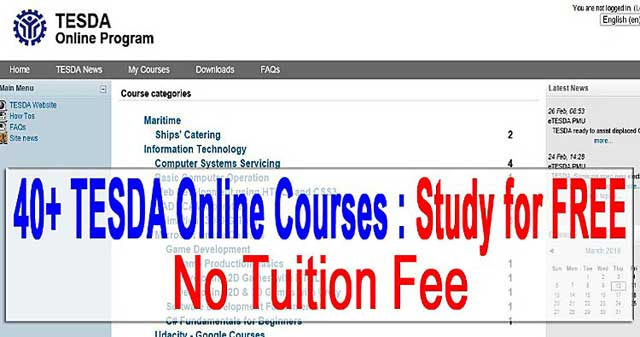 Study 40+ Tesda Courses Online for FREE No Tuition Fee