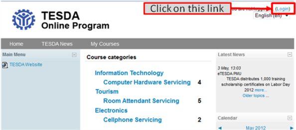 tesda online enrollment step 1