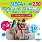 Smart Prepaid Mega All-IN 250 (Unli Text, Calls and Surf) Promo