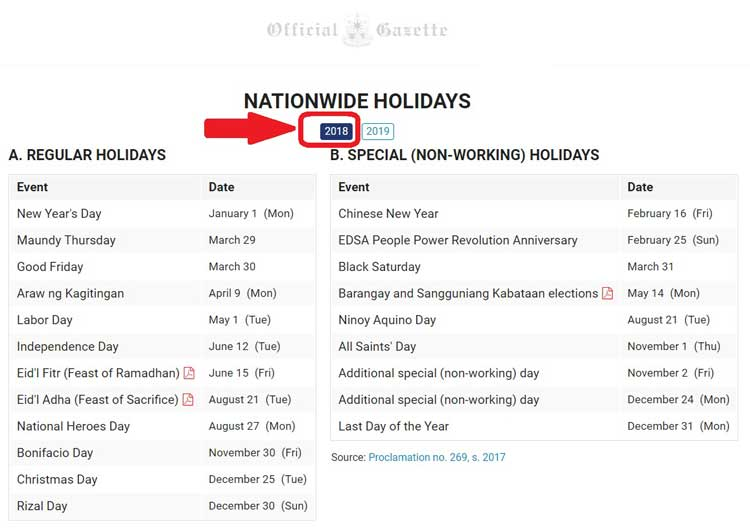 list of holidays in the philippines 2018 updated