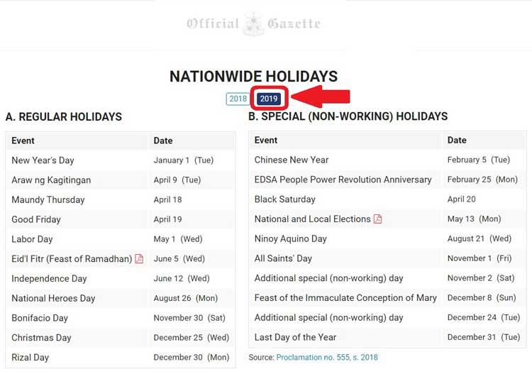 philippines holidays list 2019 updated