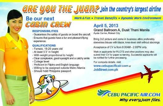 cebu pacific cabin crew Manila