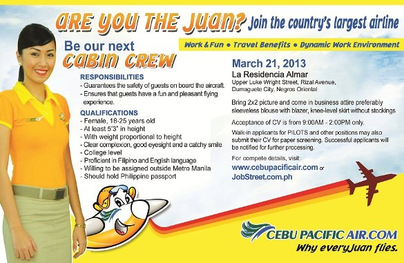 cebu pacific cabin crew job openings dumaguete