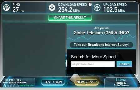 Globe broadband speed test 11PM
