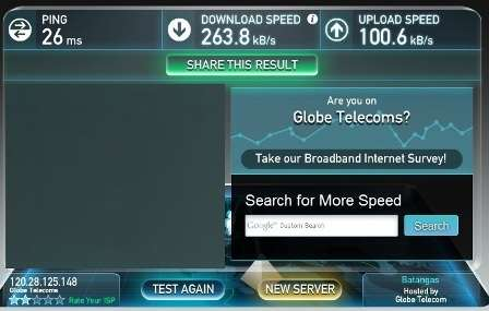 Globe broadband speed test at 1AM