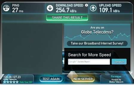 Globe broadband speed test 1PM