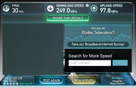 Globe broadband speed test 7PM