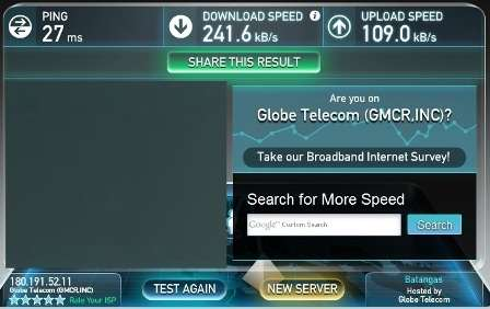 Globe broadband speed test at 9PM