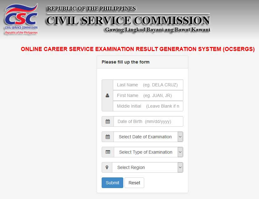CSC online career service examination