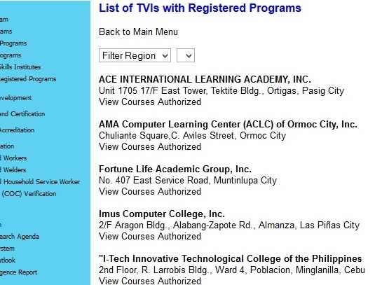 tesda laguna how to filter Region