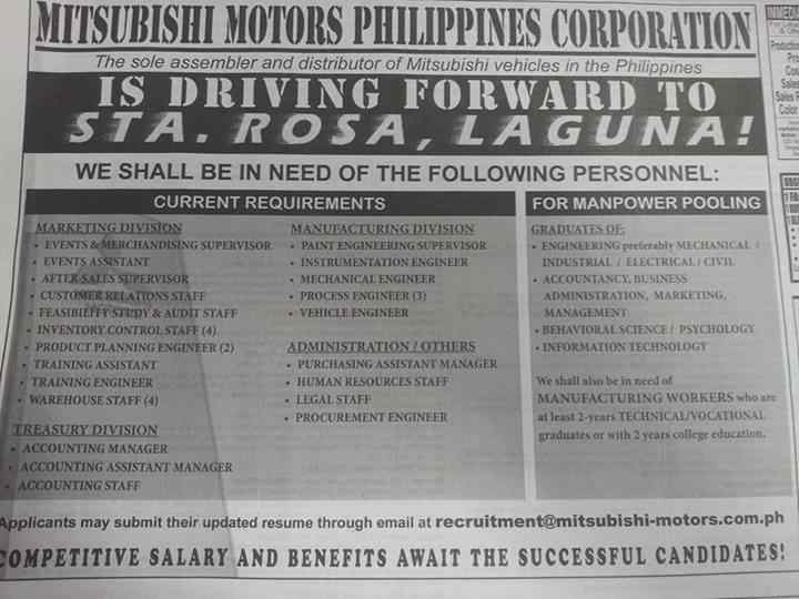 Mitsubishi Motors Philippines Corporation Job Openings