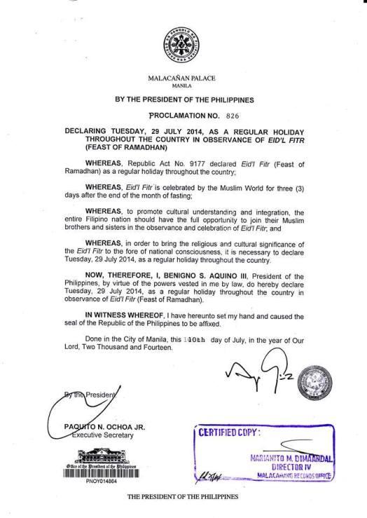 July 29,2014 Declared Regular Holiday