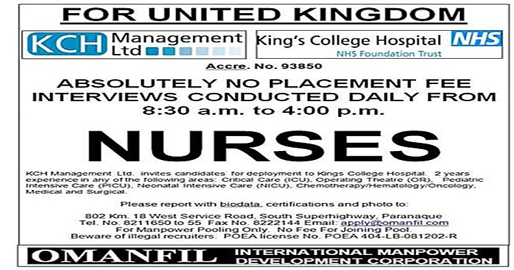 jobs for filipino nurses in united kingdom  no placement fee