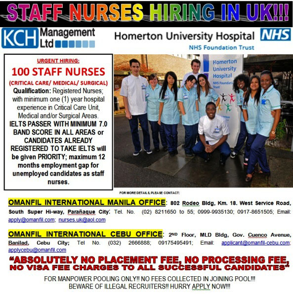 nursing jobs in uk for filipinos