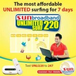 Sun Broadband Unlimited Surf 220 Offers 7 Days Unlimited Surfing
