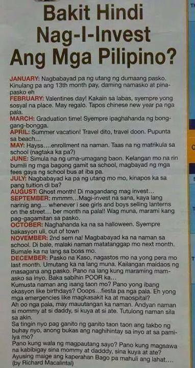 reasons filipino do not invest