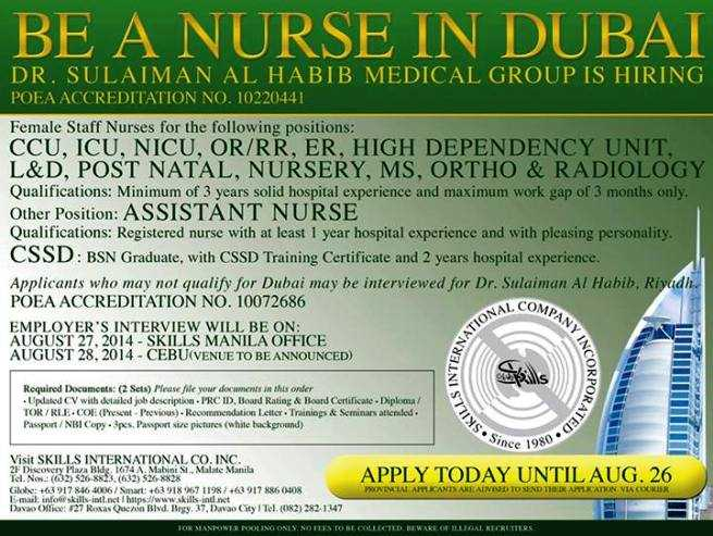 Dubai Staff Nurse Jobs For Filipinos Deadline Of