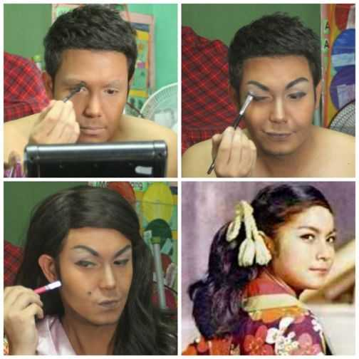 Paolo Ballesteros as Nora Aunor makeup
