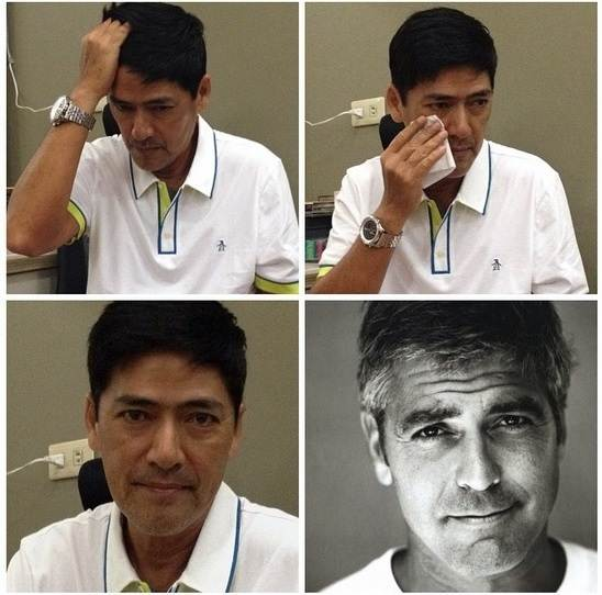 vic sotto to george clooney makeup transformation