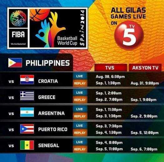 gilas pilipinas in FIBA World CUP 2014 live streaming