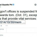 Malacañang: Half Day Work in Government Offices on October 31 2014