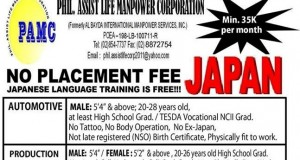 Filipino Jobs in Japan, No Placement Fee 2015