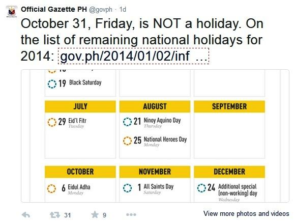 october 31, 2014 holiday
