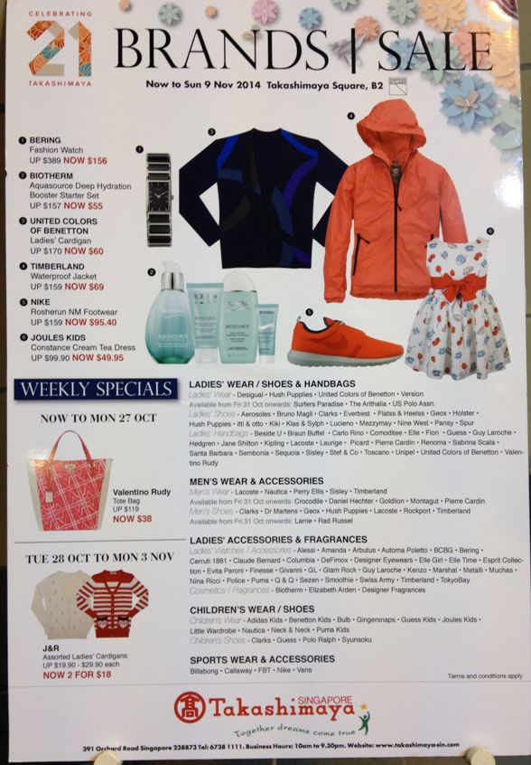 takashimaya brands sale november 2014