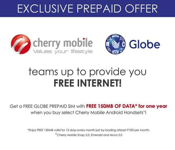 Globe offers 150MB Free Internet on Cherry Mobile Snap 2 0, Emerald