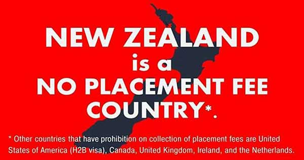 poea agency new zealand no placement fee