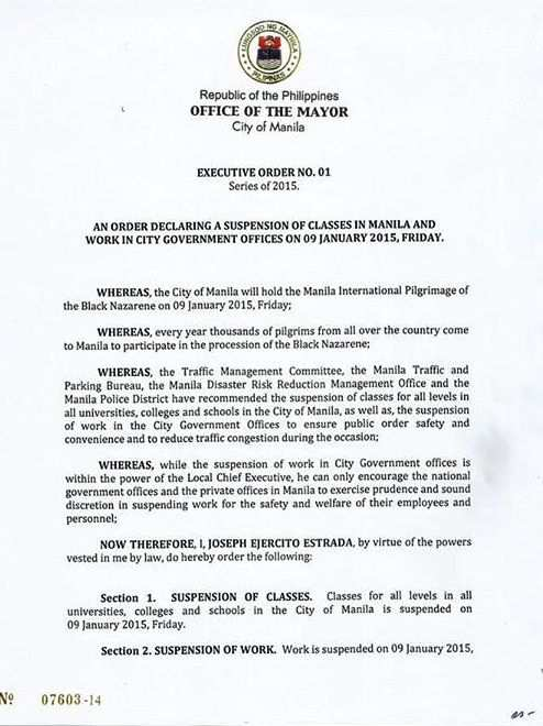 no classes manila january 9 2015