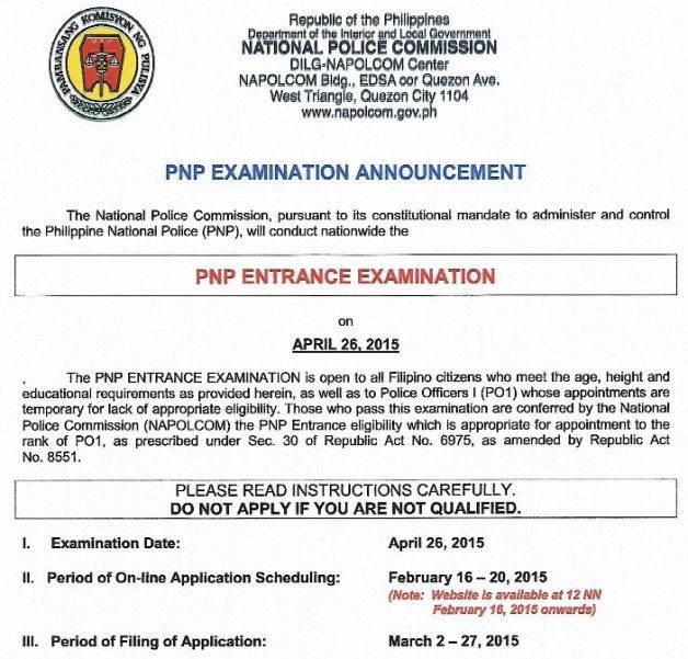 Napolcom Pnp Entrance Exam April 2015 Qualifications