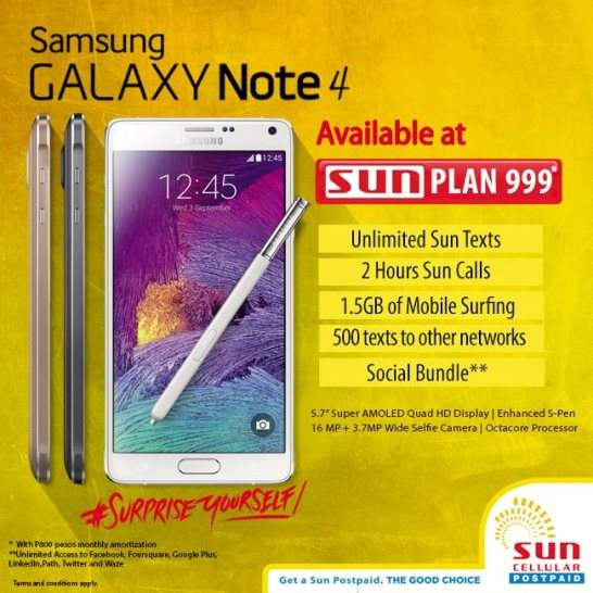 Samsung galaxy note 4 available at sun plan 999 for Sun mobile plan