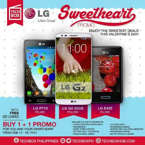 techbox buy 1 take 1 LG smartphones February 2015